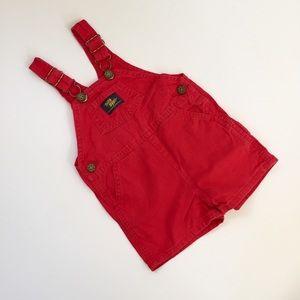 Vintage OshKosh B'Gosh Red Shortalls 18 Months